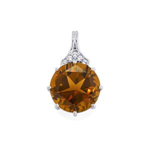 Lone Star Cognac Quartz Pendant with White Topaz in Sterling Silver 6.33cts