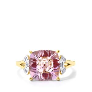 Lehrer KaleidosCut Rose De France Amethyst, Thai Ruby Ring with Diamond in 9K Gold ATGW 3.28cts (F)