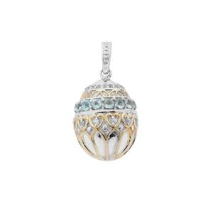 Madagascan Blue Apatite Pendant with White Zircon in Sterling Silver 2.30cts