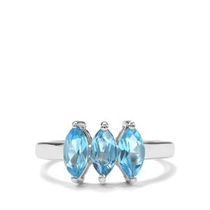 Swiss Blue Topaz Ring in Sterling Silver 1.76cts