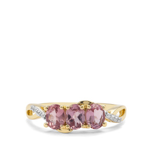 Natural Purple Pink Spinel & White Zircon 9K Gold Ring ATGW 1.13cts