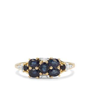 Sant , Ceylon Blue Sapphire & White Zircon 9K Gold Ring ATGW 1.25cts