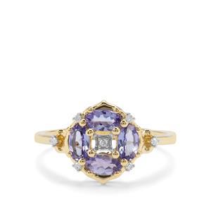 AA Tanzanite & Diamond 9K Gold Ring ATGW 0.85ct