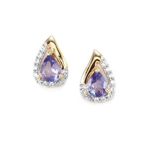 AA Tanzanite Earrings with White Zircon in 10K Gold 0.65cts