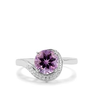 Moroccan Amethyst & White Zircon Sterling Silver Ring ATGW 1.90cts
