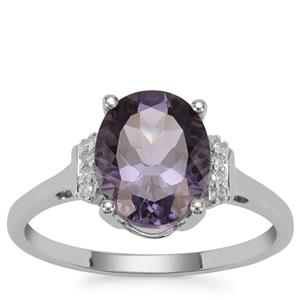 Blueberry Quartz Ring with Diamond in 9K White Gold 2.47cts