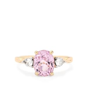 Mawi Kunzite Ring with White Zircon in 10K Gold 3.10cts