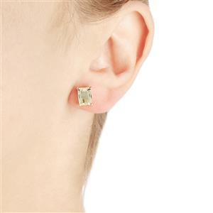 3.90ct Green Kunzite 10K Gold Earrings
