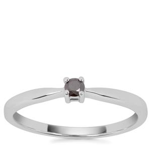 Black Diamond Ring in Sterling Silver 0.10ct