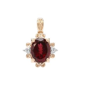 Umba River Garnet Pendant with White Zircon in 9K Gold 3.46cts