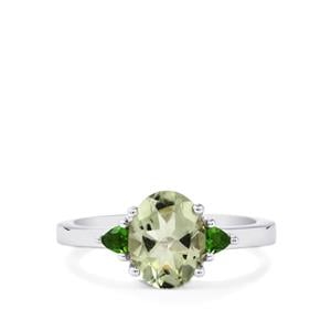 Prasiolite & Chrome Diopside Sterling Silver Ring ATGW 1.89cts