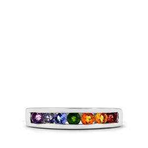 0.81ct Rainbow Gemstones Sterling Silver VIBGYOR Ring
