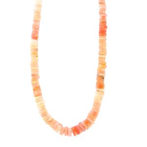 Peruvian Pink Opal Graduated Bead Necklace in Sterling Silver 136cts