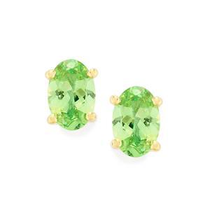 Merelani Mint Garnet Earrings in 9K Gold 0.88cts