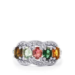 Rainbow Tourmaline & Diamond Sterling Silver Ring ATGW 1.67cts