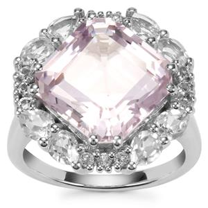 Asscher Cut Bahia Amethyst Ring with White Topaz in Sterling Silver 9.94cts
