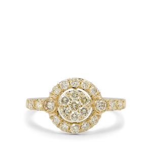 1ct Natural Yellow Diamond 9K Gold Ring