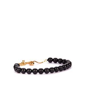 Black Spinel Slider Bracelet in Gold Tone Sterling Silver 49cts