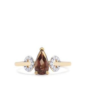 Tsivory Colour Change Garnet Ring with Diamond in 18K Gold 1.48cts