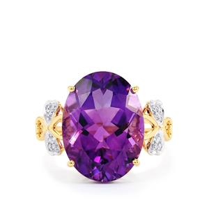 Moroccan Amethyst Ring with Diamond in 14K Gold 8.45cts