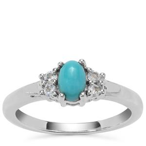 Sleeping Beauty Turquoise Ring with Swiss Blue Topaz in Sterling Silver 0.64cts