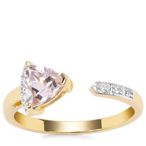 Alto Ligonha Morganite Ring with White Zircon in 9K Gold 0.69cts