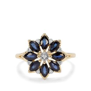 Sri Lankan Sapphire & Diamond 9K Gold Ring ATGW 1.47cts
