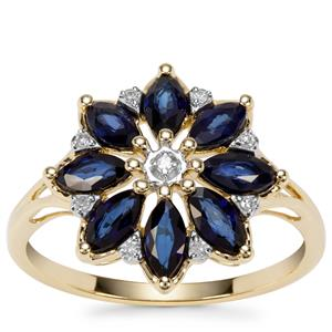 Sri Lankan Sapphire Ring with Diamond in 9K Gold 1.47cts