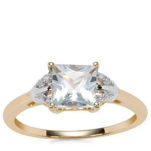 Pedra Azul Aquamarine Ring with Diamond in 9K Gold 1.08cts