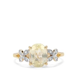 Canary Kunzite & Diamond 9K Gold Ring ATGW 2.54cts