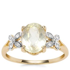 Canary Kunzite Ring with Diamond in 9K Gold 2.54cts