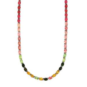 Rainbow Tourmaline Necklace in Sterling Silver 29.50cts