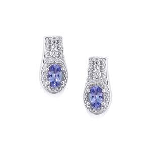 Tanzanite & White Topaz Sterling Silver Earrings ATGW 1.42cts