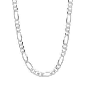 "18"" Sterling Silver Couture Diamond Cut Figaro Chain 3.78g"