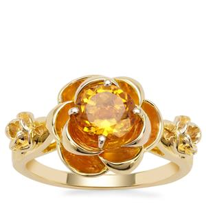Golden Tanzanian Scapolite Ring in Gold Plated Sterling Silver 1.22cts