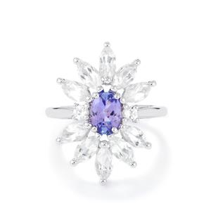 AA Tanzanite & White Topaz Sterling Silver Ring ATGW 3.86cts