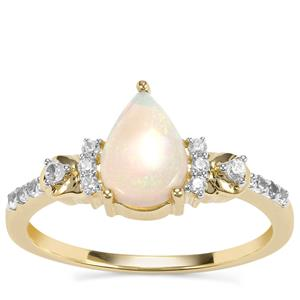 Coober Pedy Opal Ring with White Zircon in 9K Gold 0.79ct