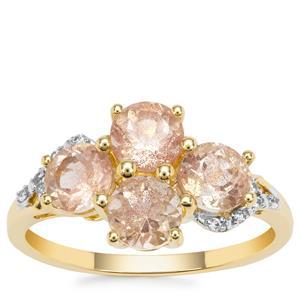 Peach Parti Oregon Sunstone Ring with White Zircon in 9K Gold 1.96cts