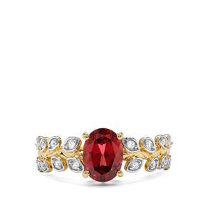 Mahenge Garnet & White Zircon 9K Gold Ring ATGW 1.72cts