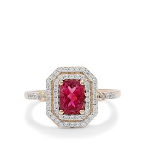 Nigerian Rubellite Ring with White Zircon in 9K Gold 1.35cts