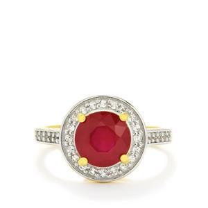 Thai Ruby & White Topaz Gold Vermeil Ring ATGW 2.98cts (F)