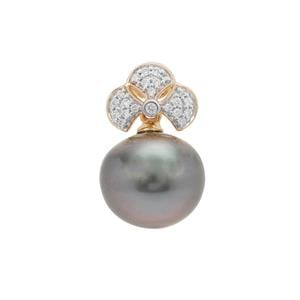 Tahitian Cultured Pearl Pendant with Diamond in 18K Gold (10MM)