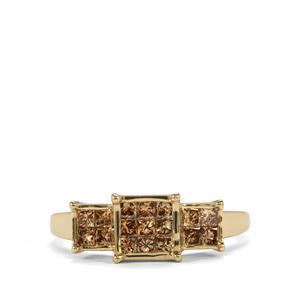 3/4ct Champagne Diamond 10K Gold Tomas Rae Ring