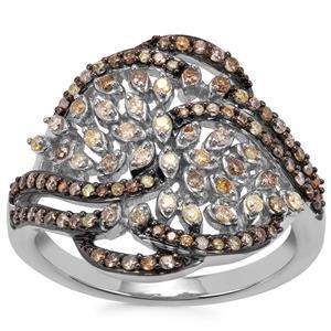 Multi-Colour Diamond Ring in Sterling Silver 0.54ct