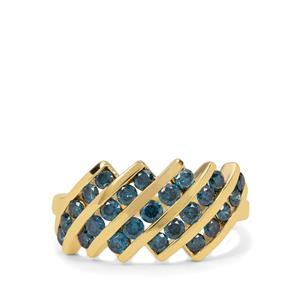 Blue Diamond Ring in 9K Gold 1cts
