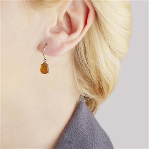 AA Orange American Fire Opal Earrings  in 10k White Gold 2.47cts