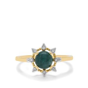 Grandidierite Ring with Diamond in 9K Gold 0.95ct