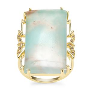 Aquaprase™ Ring with Champagne Diamond in 9K Gold 22.23cts