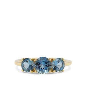 Nigerian Aquamarine Ring in 9K Gold 1.65cts