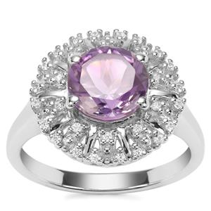 Moroccan Amethyst Ring with White Zircon in Sterling Silver 1.97cts